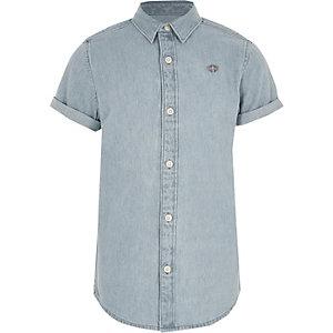 Boys light blue short sleeve denim shirt