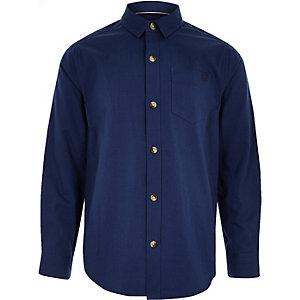Donkerblauw overhemd met lange mouwen voor jongens