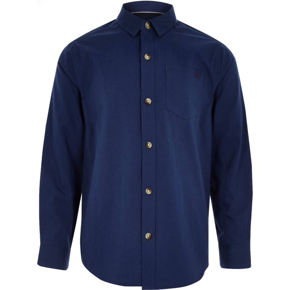 Chemise bleu foncé à manches longues pour garçon