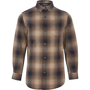 Bruin ombré geruit overhemd voor jongens