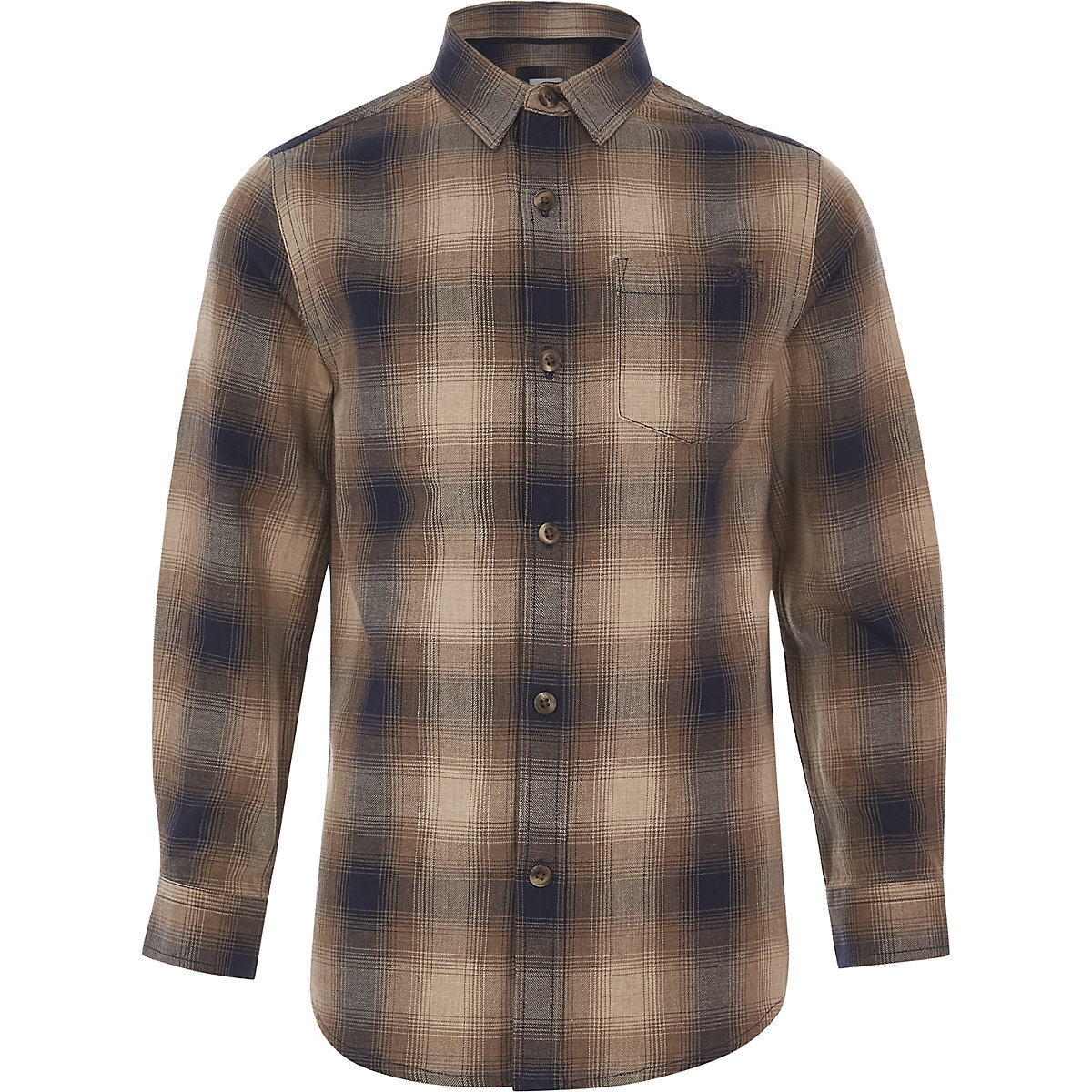 Boys brown ombre check shirt