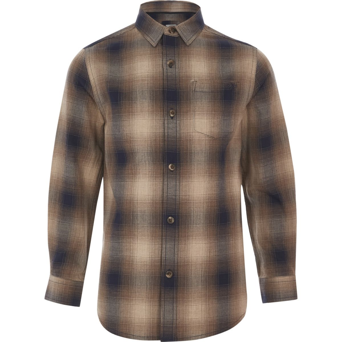 Boys brown ombre check shirt