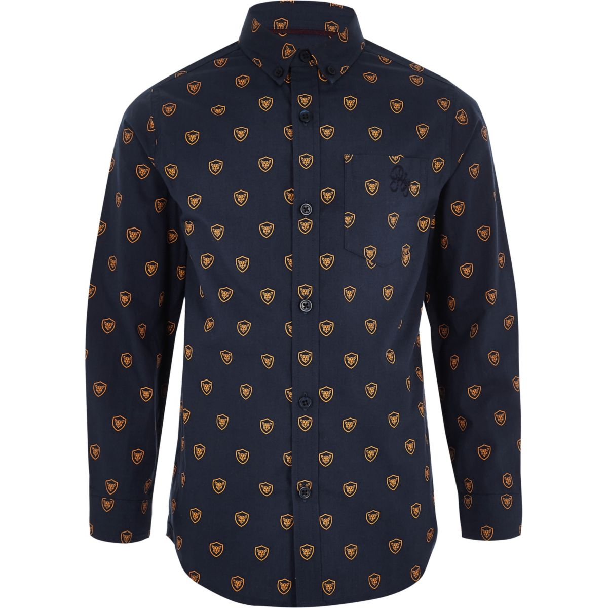 Boys blue tiger shield print shirt
