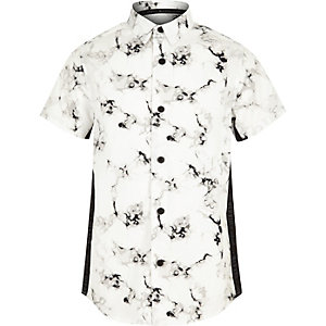 Boys white marble print tape shirt