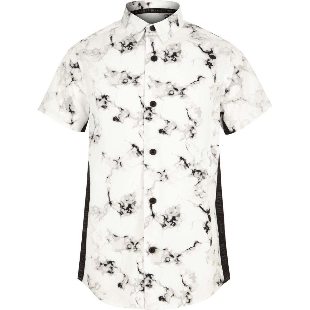 Boys white marble print tape shirt