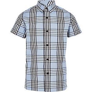 Blau kariertes kurzärmeliges Hemd für Jungen
