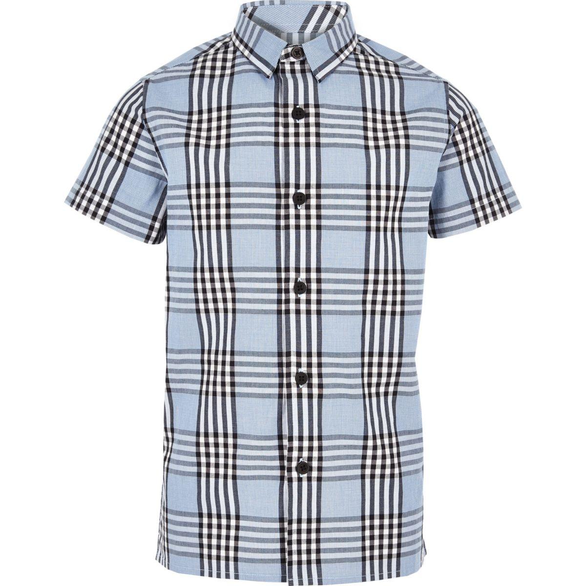 Chemise bleue à manches courtes et carreaux pour garçon