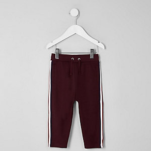 Mini boys burgundy tape tracksuit bottoms