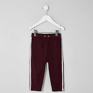 Mini - Bordeauxrode joggingbroek met biezen voor jongens
