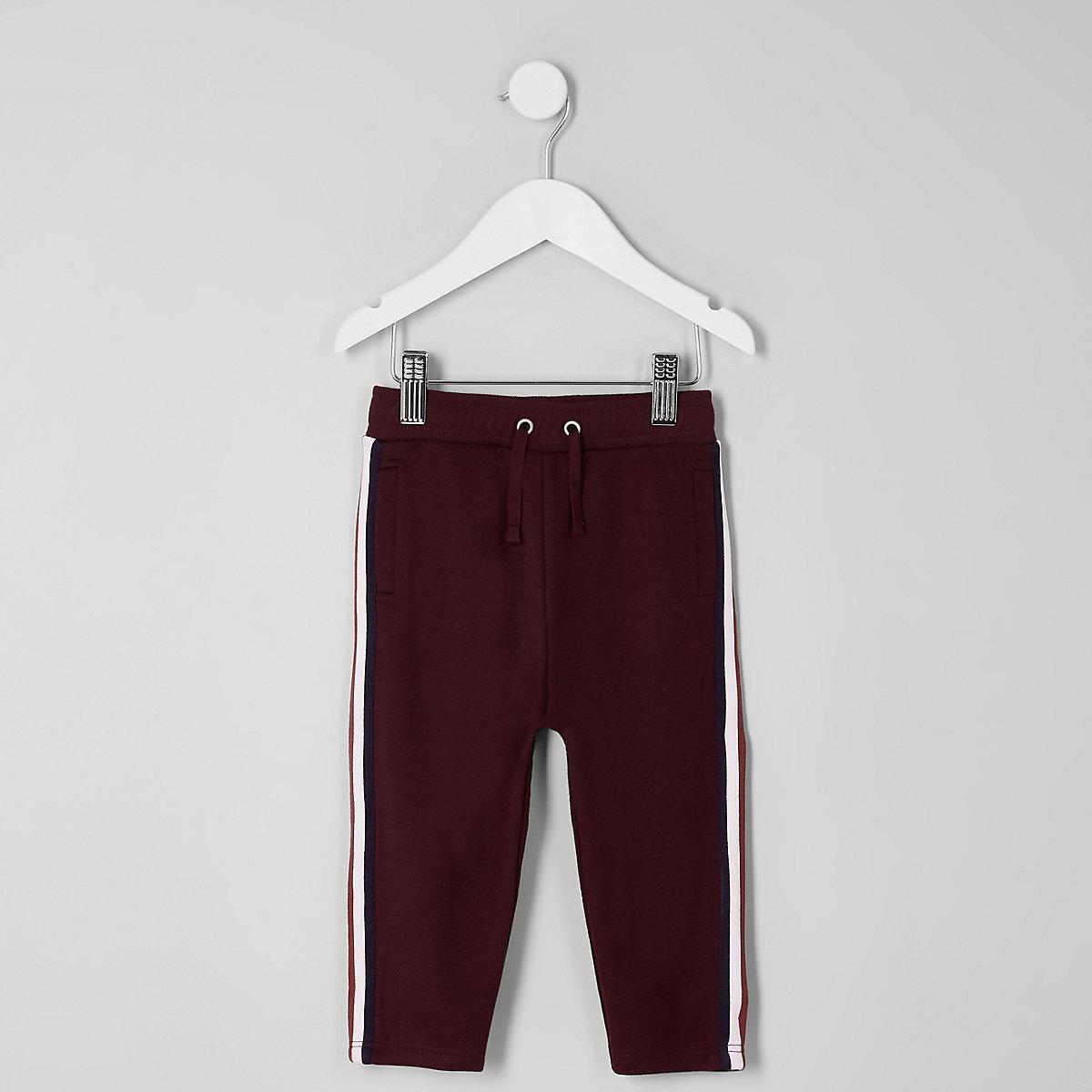 Mini boys burgundy tape tracksuit bottoms