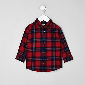 Mini boys red check long sleeve shirt