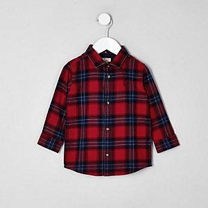 Mini - rood geruit overhemd met lange mouwen voor jongens