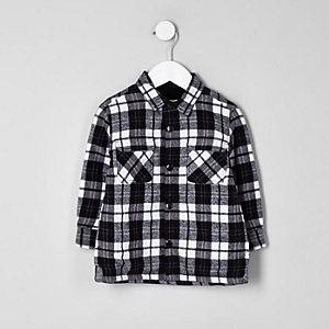 Mini boys long sleeve check shacket