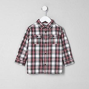 Chemise à carreaux rouge avec doublure en jersey mini garçon