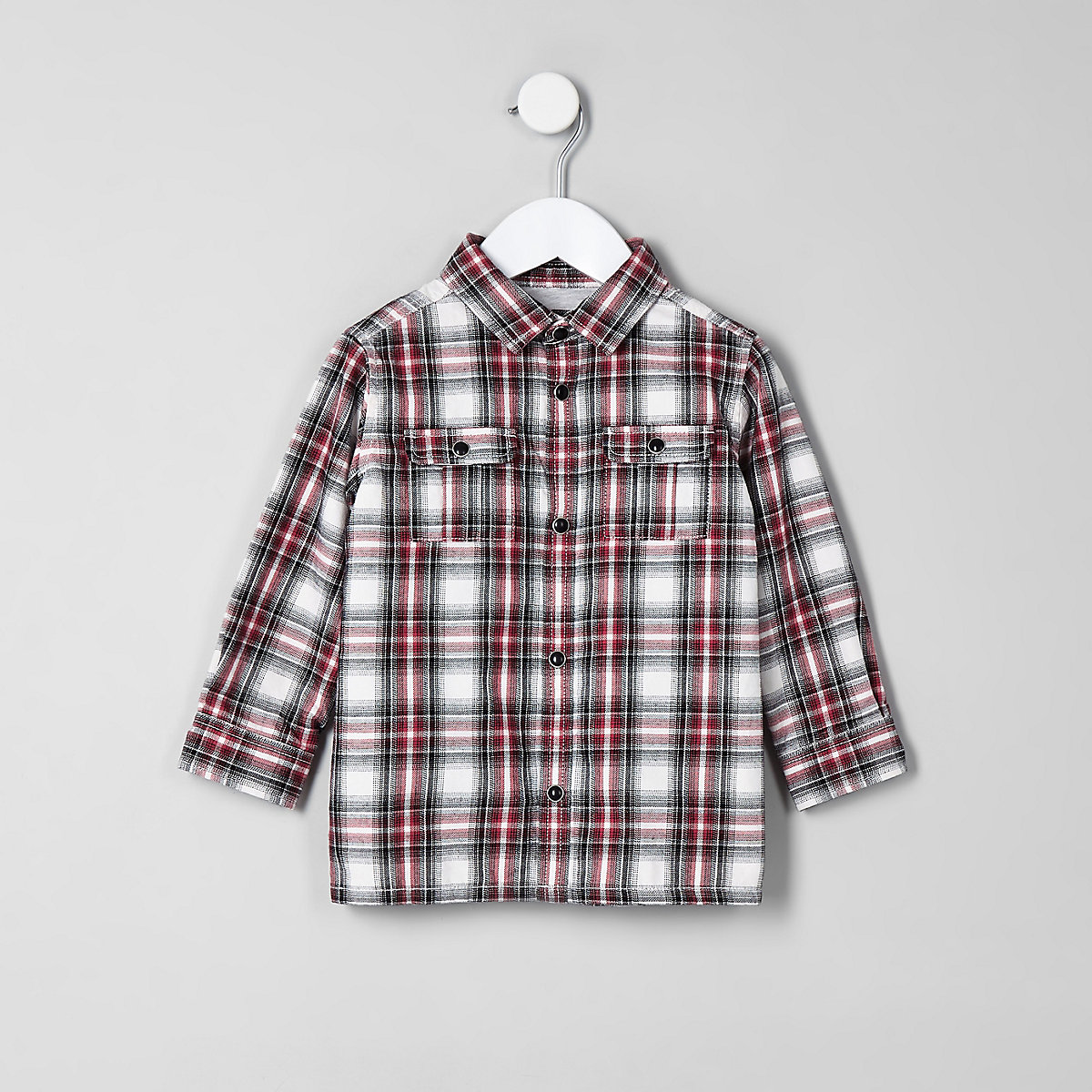 Mini boys red check jersey lined shacket