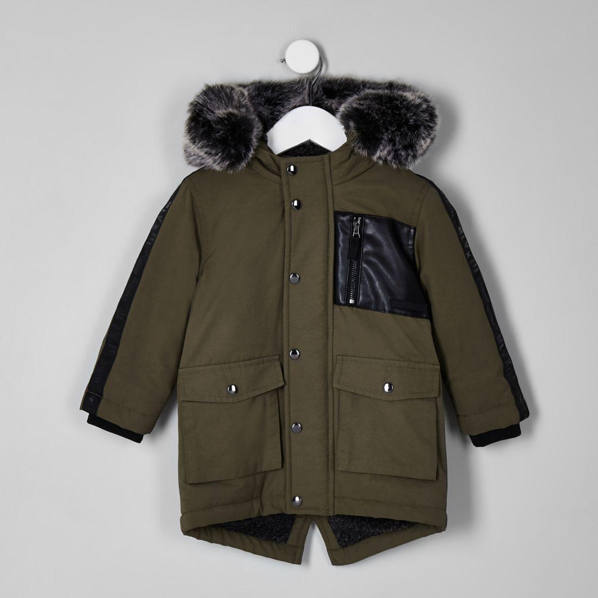 Mini boys khaki tape side patch hooded parka