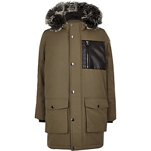 Boys khaki tape side patch hooded parka