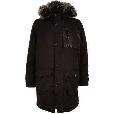 Boys Black Tape Side Patch Hooded Parka by River Island
