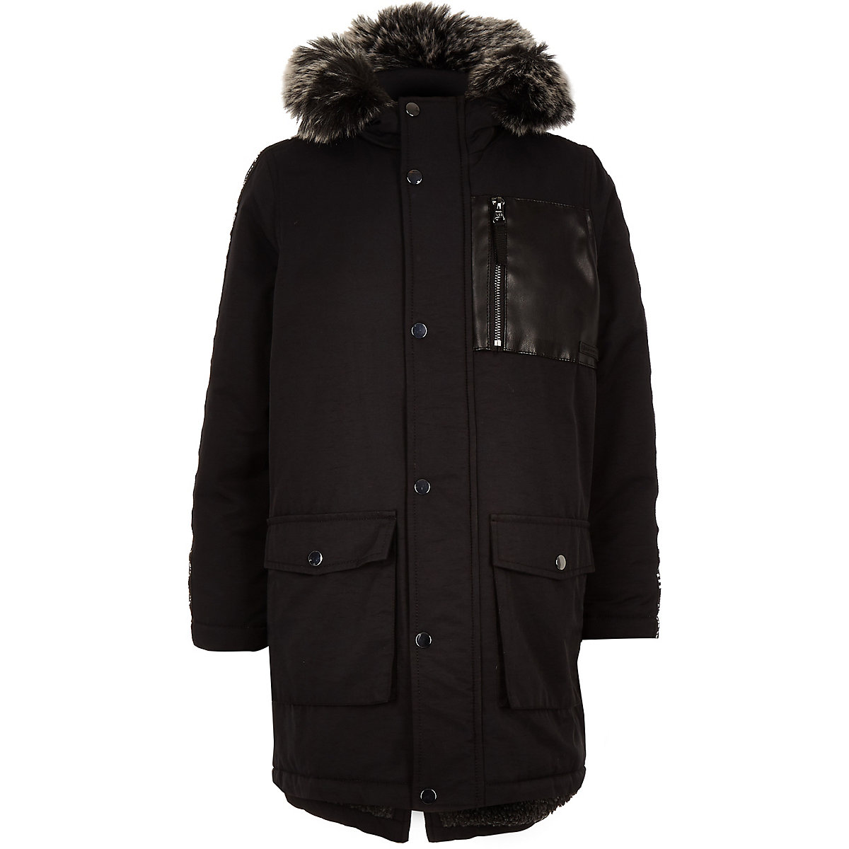 Boys black tape side patch hooded parka