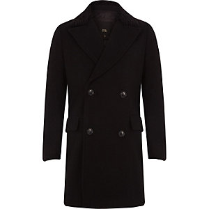 RI 30 boys black double breasted wool coat