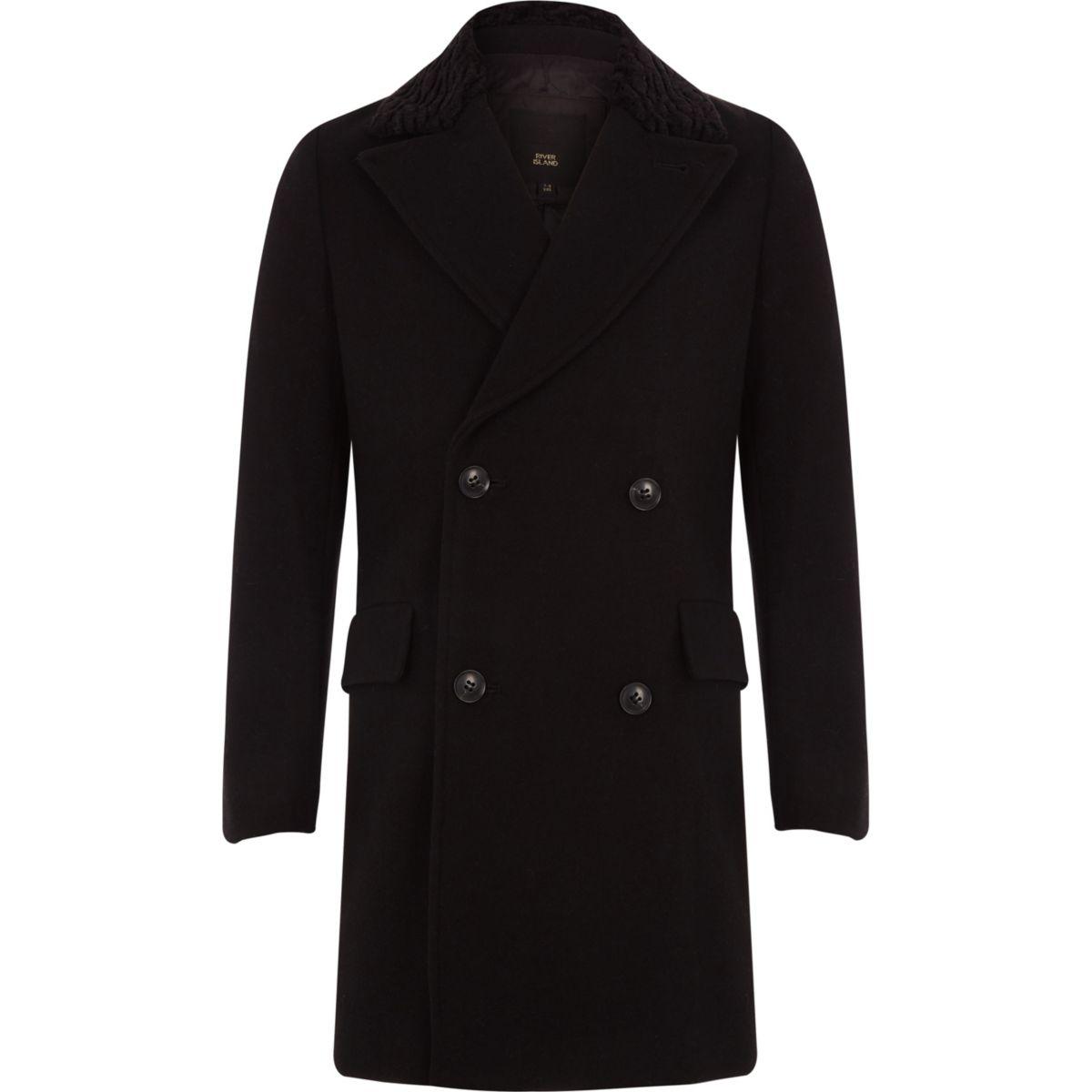 RI 30 boys black double breasted wool coat