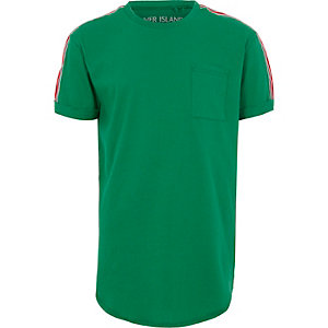 Boys green tape sleeve T-shirt