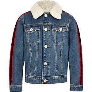 Veste en denim bleu avec imitation peau de mouton et bande latérale pour garçon