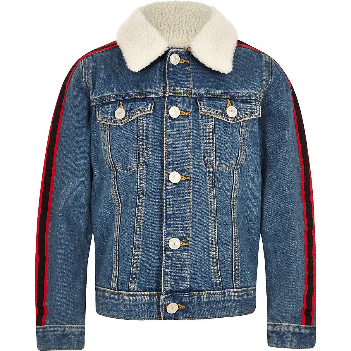 Boys blue fleece tape side denim jacket