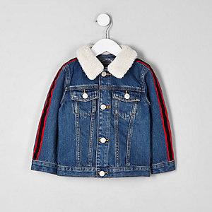 Veste en jean avec imitation peau de mouton et bande latérale mini garçon