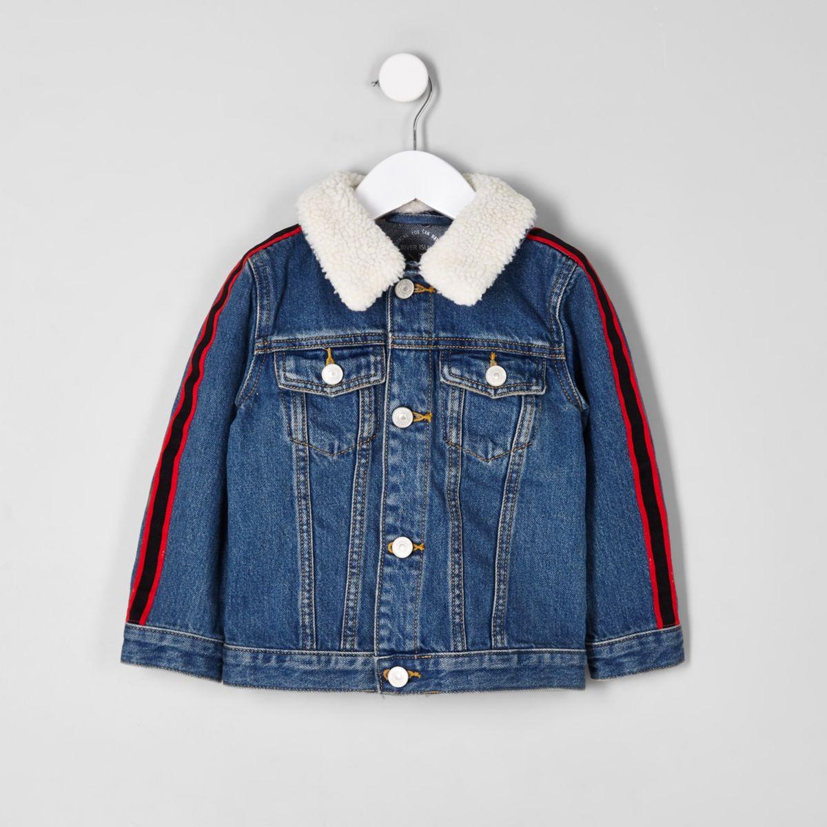 Mini boys blue fleece tape side denim jacket