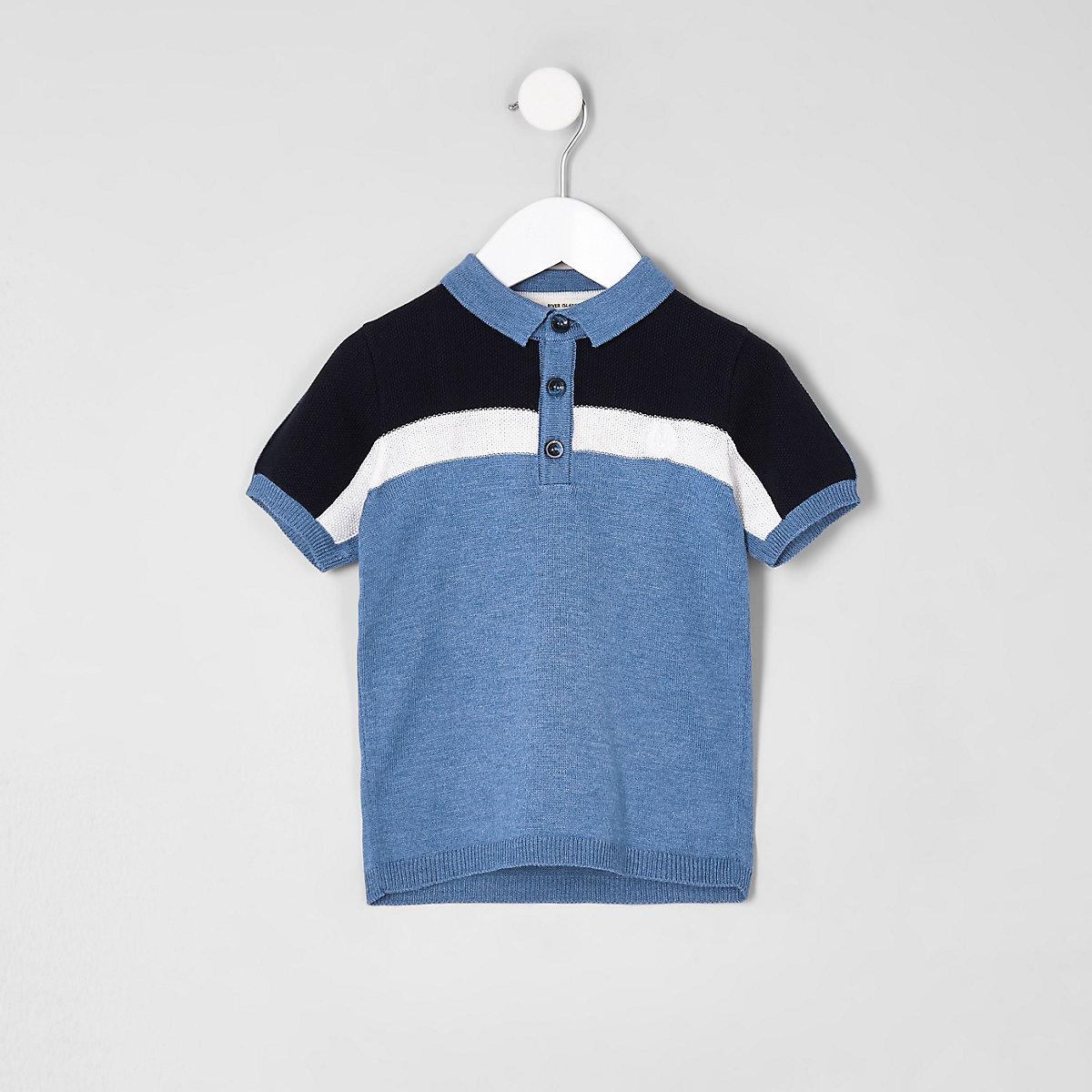 Mini boys blue block polo shirt