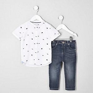 Mini - Outfit met wit overhemd met print en jeans voor jongens