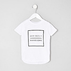 Mini - Wit T-shirt met 'seriously'-print voor jongens