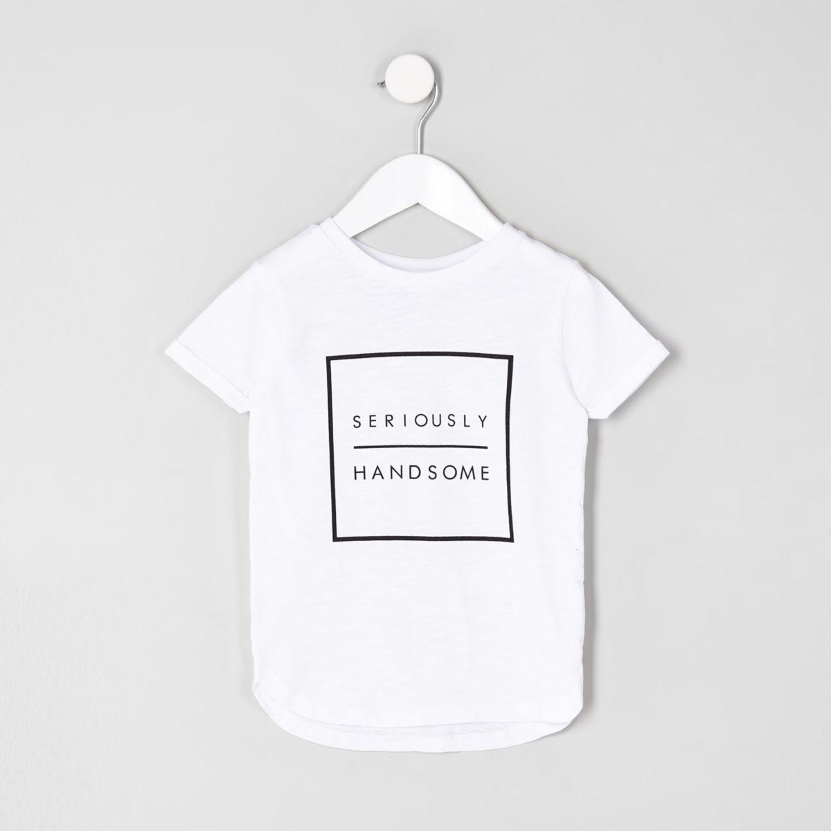Mini boys white 'seriously' print T-shirt