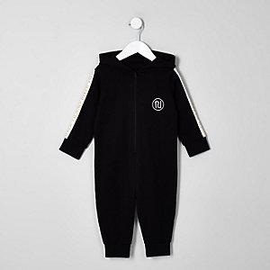Mini boys black RI tape onesie