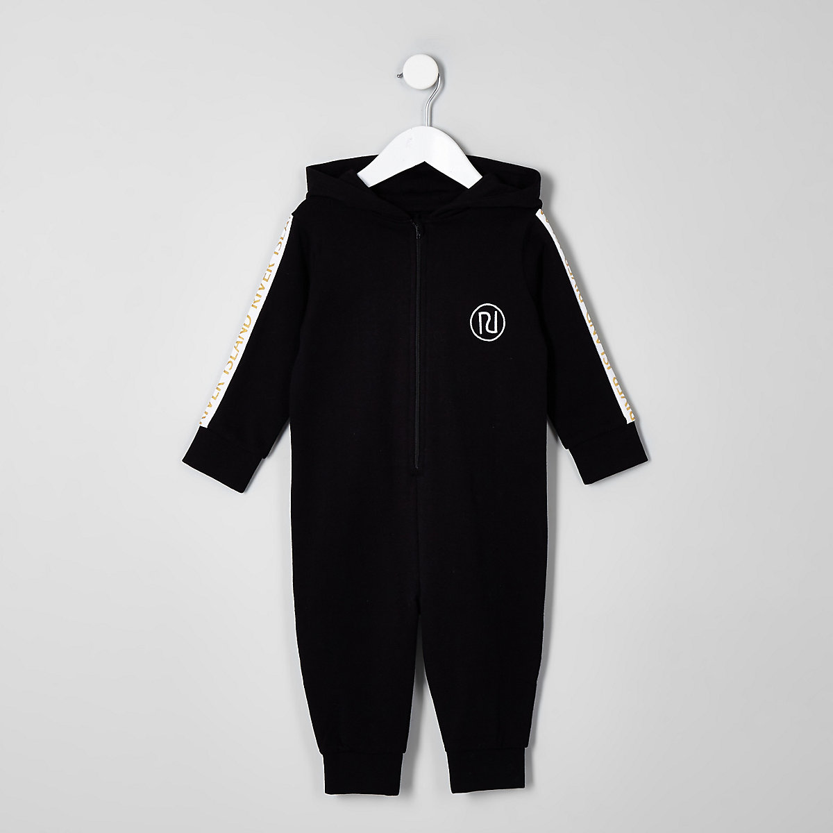 Mini boys black RI tape onesie