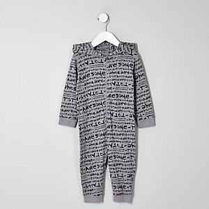 Mini - Grijze onesie met 'totally awesome'-print