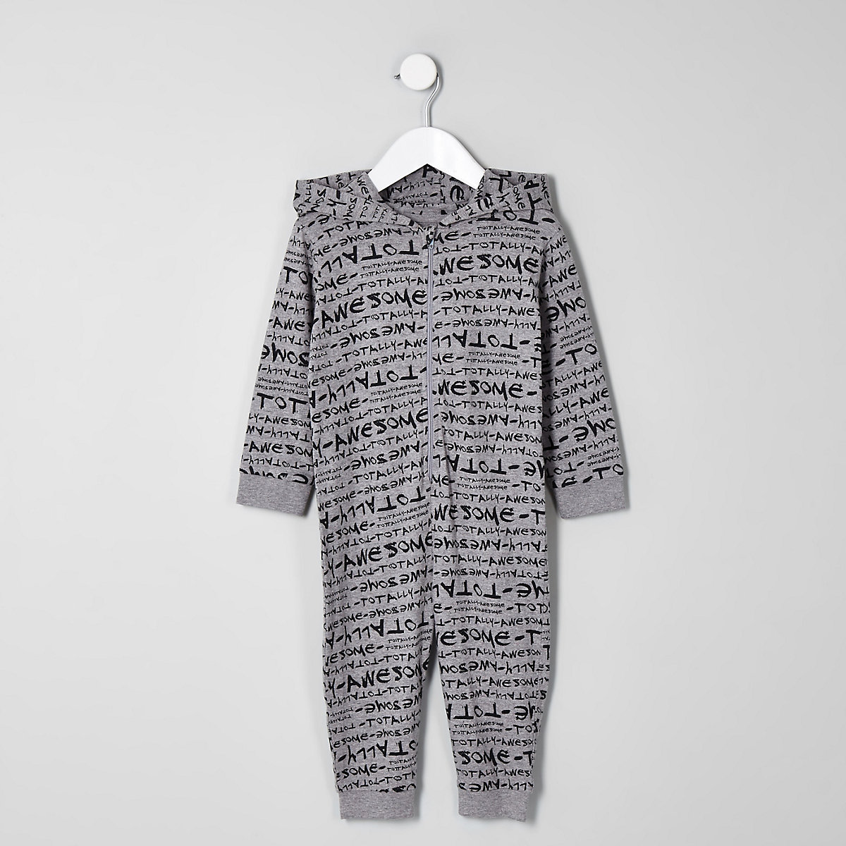 Mini boys grey 'totally awesome' onesie