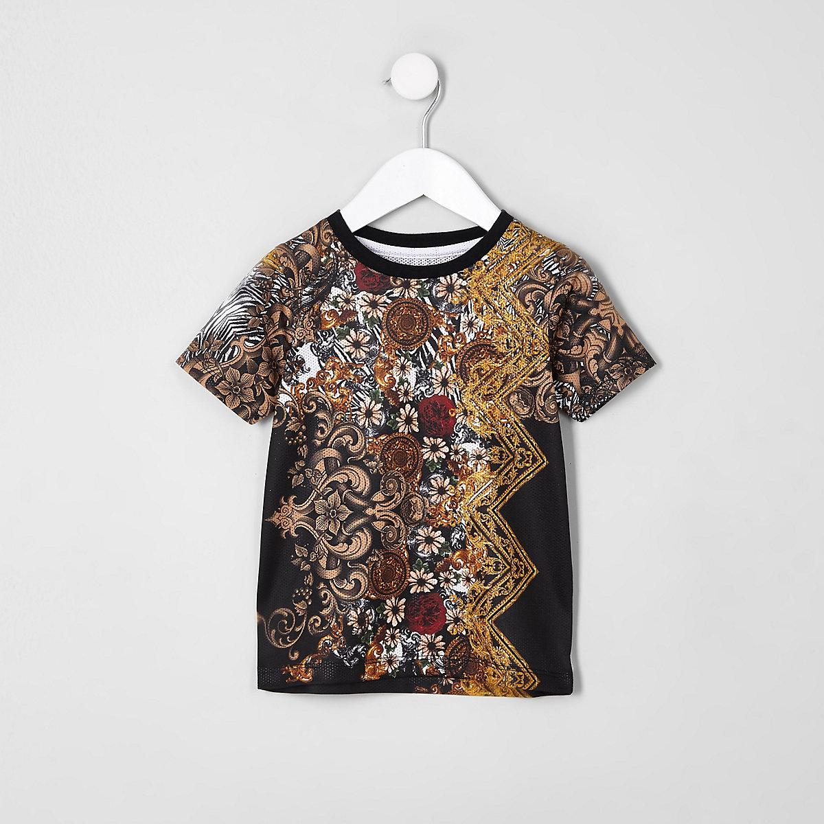 Mini boys black mesh print T-shirt