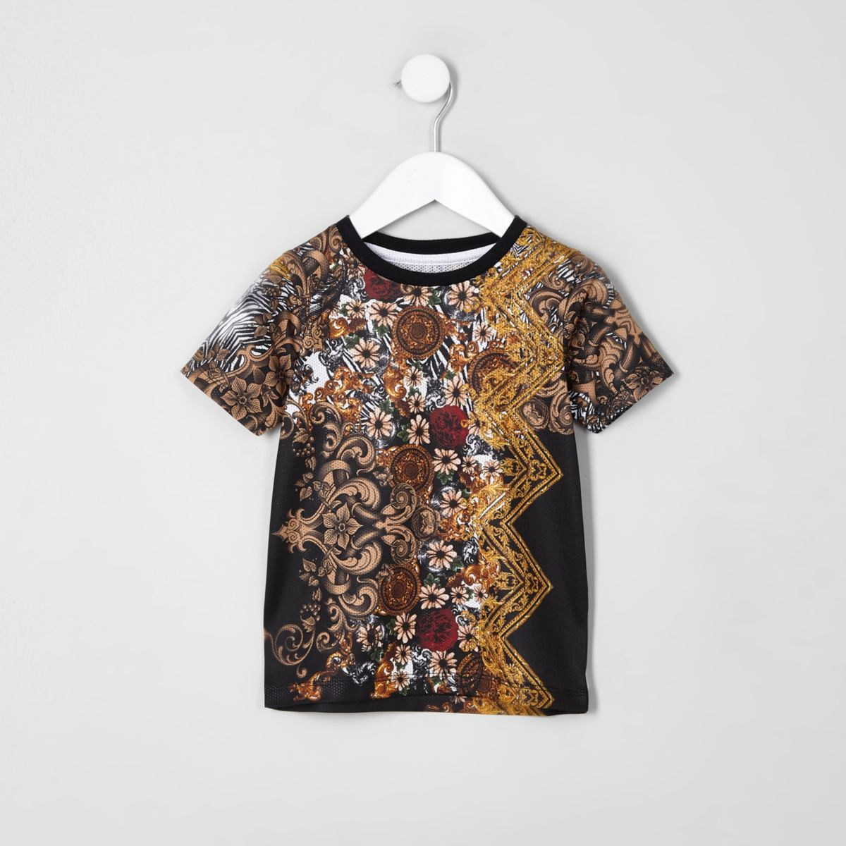 Mini boys black mesh print T-shirt