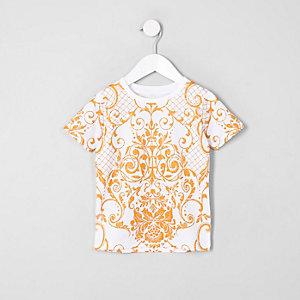 Mini boys white mesh print T-shirt
