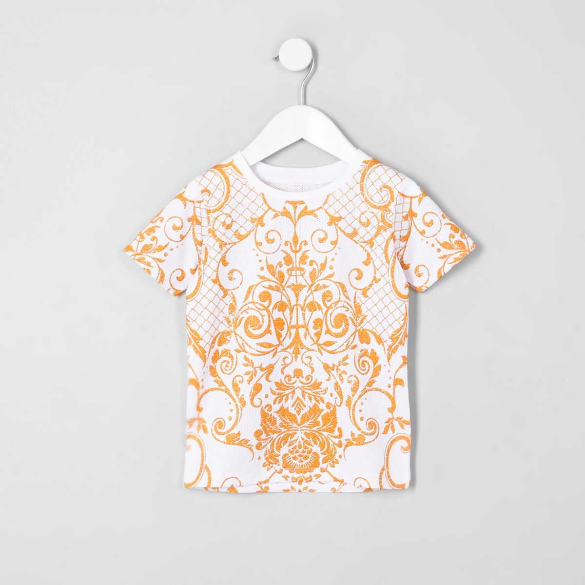 Mini boys white mesh print T-shirt
