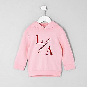 Mini - Roze hoodie met 'LA'-print voor jongens