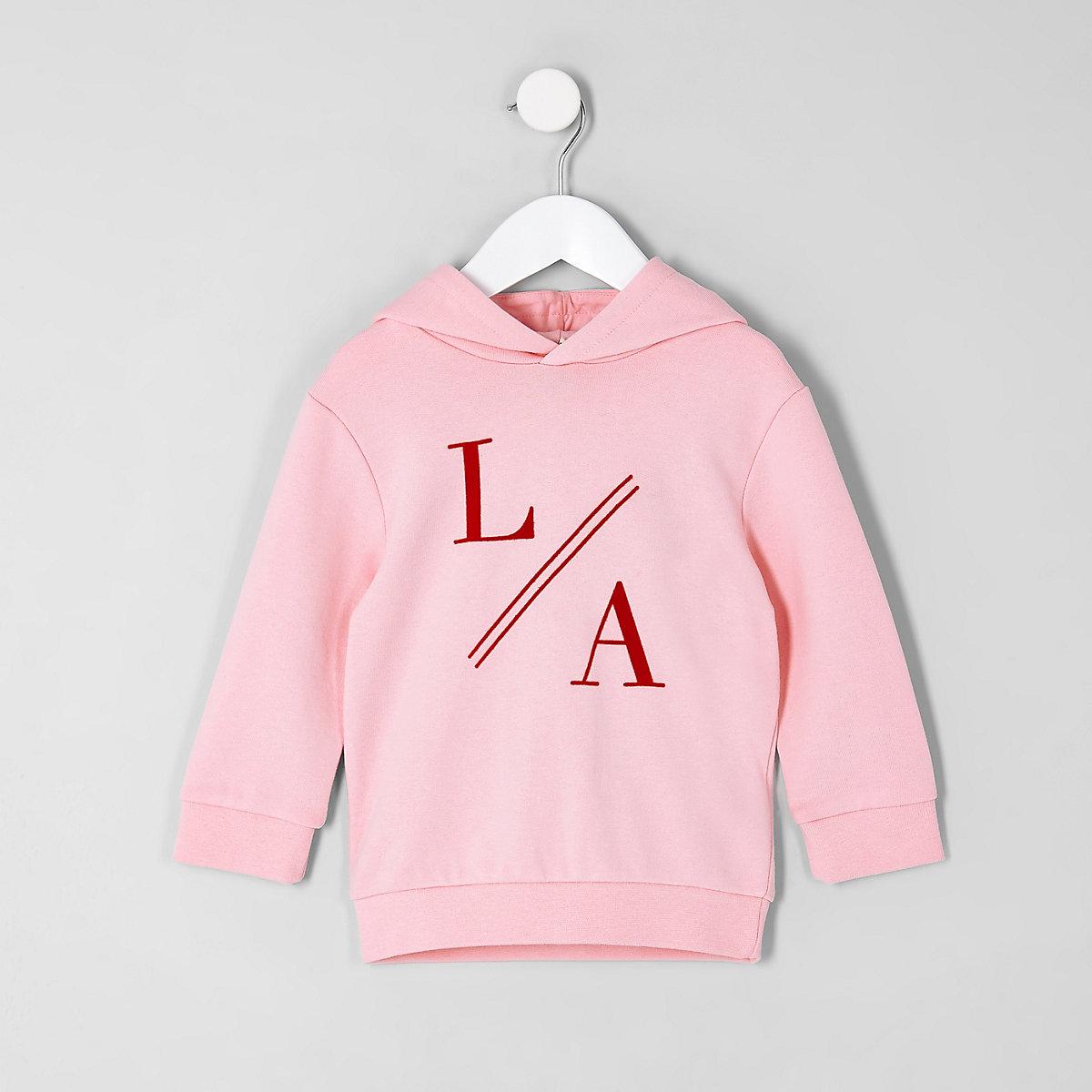 Mini boys pink 'LA' hoodie