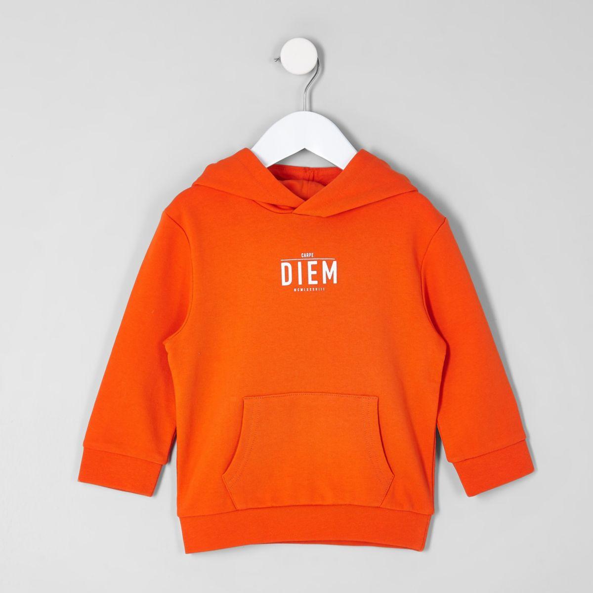 Mini boys orange 'carpe diem' pique hoodie