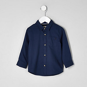 Chemise bleu foncé à manches longues mini garçon