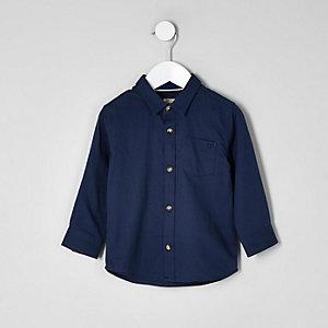 Mini - Donkerblauw overhemd met lange mouwen voor jongens