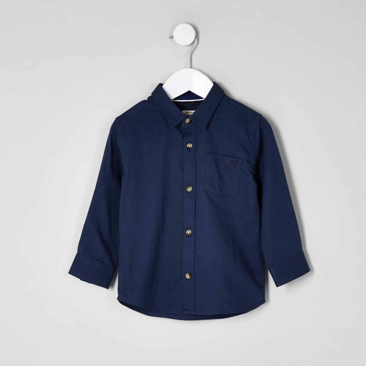 Mini boys dark blue long sleeve shirt