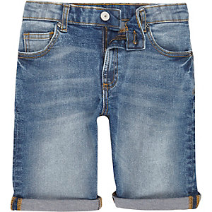 Dylan - Blauwe slim-fit denim short voor jongens
