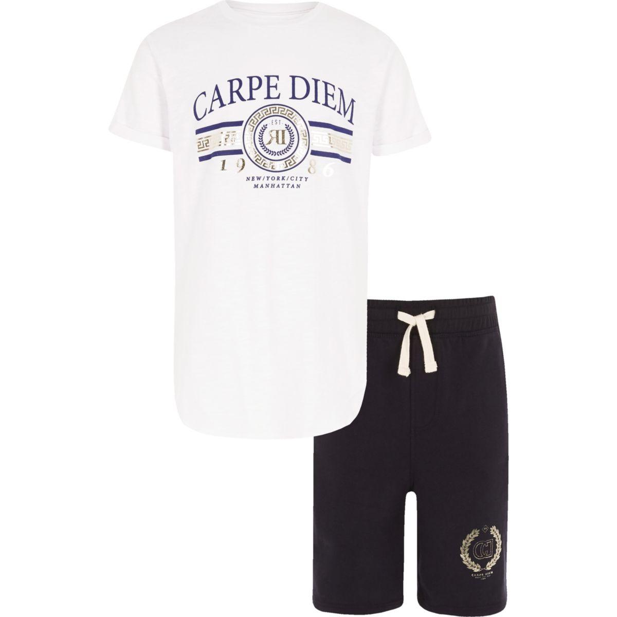 Boys 'carpe diem' foil print T-shirt outfit